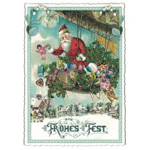 Santa's Dirigible Christmas Postcard ~ Germany