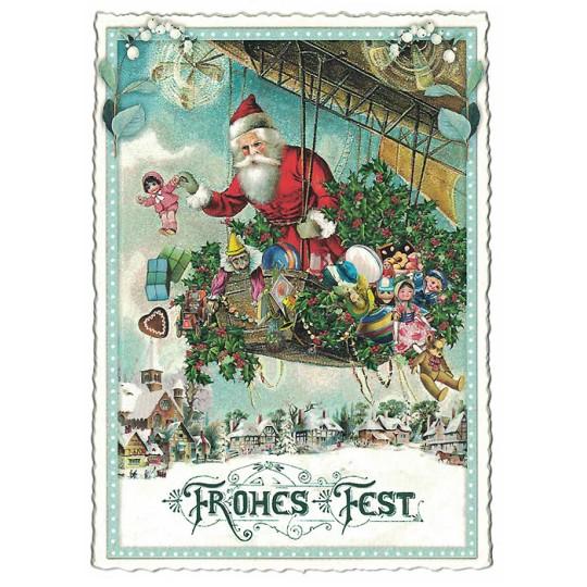 Santa's Dirigible Christmas Postcard ~ Germany