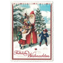 Santa with Children Christmas Postcard ~ Germany