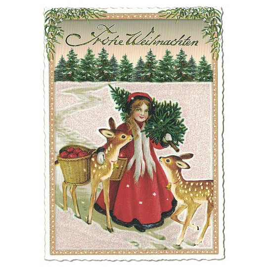 Maiden with Deer Christmas Postcard ~ Germany