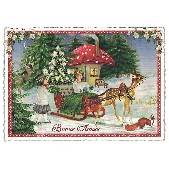 Bonne Annee Mushroom House Christmas Postcard ~ Germany