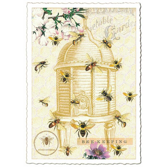 Bees with Beehive Collage Postcard ~ Germany