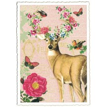 Deer and Flower Glittered Postcard ~ Germany