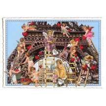 Eiffel Tower Valentine Angels Large Paris Postcard ~ Germany