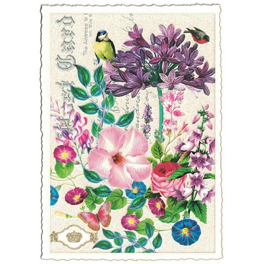 Flowers Collage Glittered Postcard ~ Germany