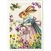 Mrs. Bunny and Flowers Easter Postcard ~ Germany