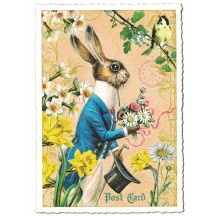 Mr. Bunny and Flowers Easter Postcard ~ Germany