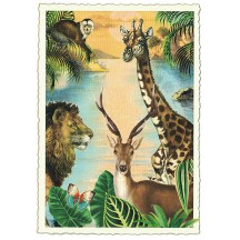 Wild Animals Glittered Postcard ~ Germany