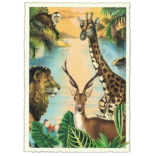 Wild Animals Glittered Postcard ~ Germany