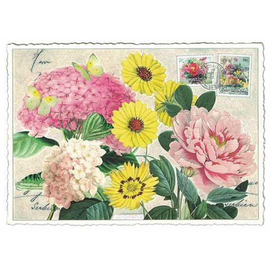 Pink and Yellow Flowers Collage Glittered Postcard ~ Germany