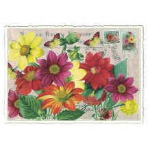 Bold Flowers Collage Glittered Postcard ~ Germany