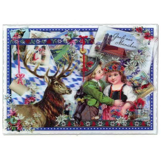 3-D Holographic Bavarian Munich Christmas Collage Large Postcard ~ Germany