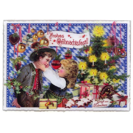 3-D Holographic Bavarian Christmas Large Postcard ~ Germany