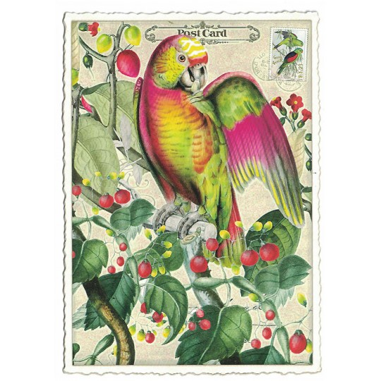 Tropical Parrot Glittered Postcard ~ Germany