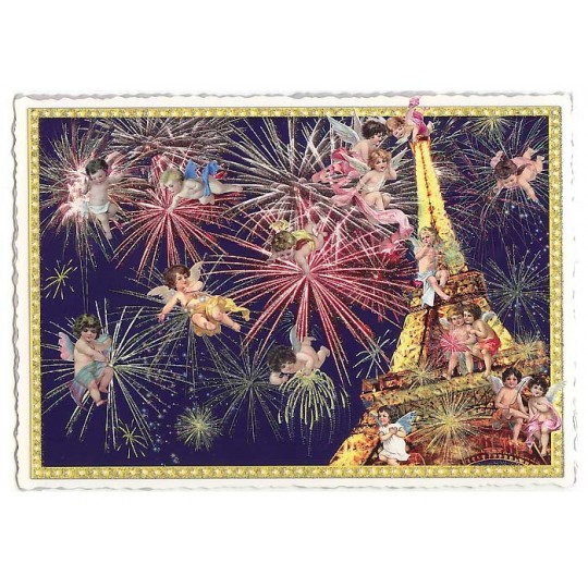 Eiffel Tower Fireworks Large Paris Postcard ~ Germany