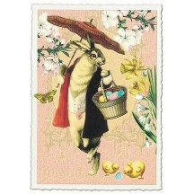 Dapper Bunny and Flowers Easter Postcard ~ Germany