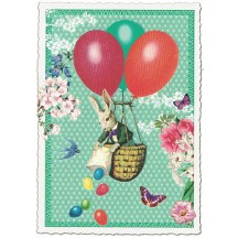 Bunny Balloons Easter Postcard ~ Germany