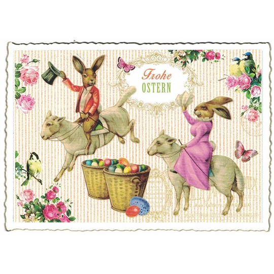 Lamb Rodeo Easter Postcard ~ Germany