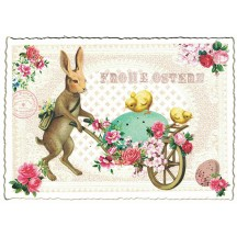 Bunny Egg Cart Easter Postcard ~ Germany