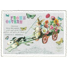 Bunny Flower Cart Easter Postcard ~ Germany