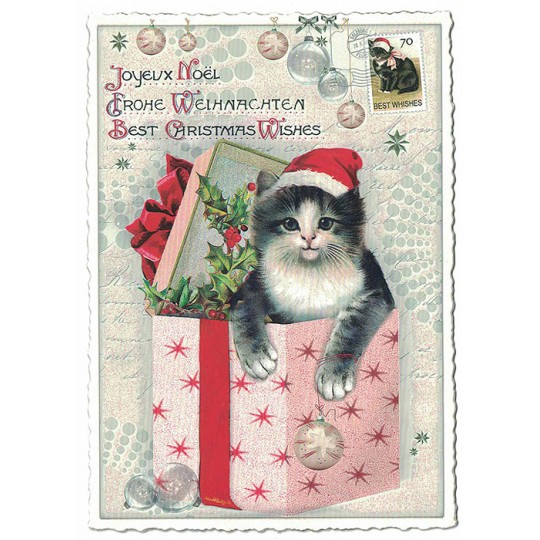 Kitten Christmas Wishes Postcard ~ Germany