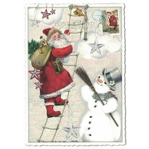Santa with Snowman Christmas Postcard ~ Germany