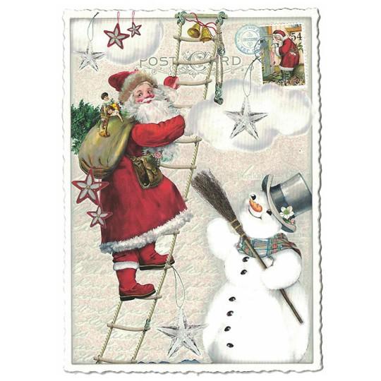 Santa with Snowman Christmas Postcard ~ Germany