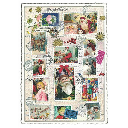 Christmas Stamps Collage Postcard ~ Germany