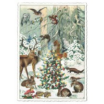 Woodland Animals Christmas Postcard ~ Germany