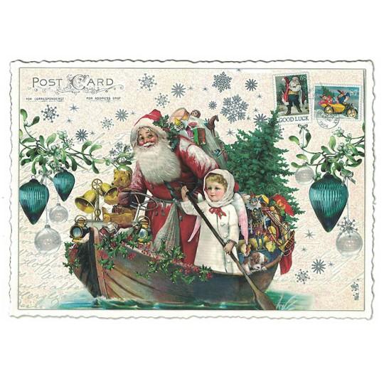 Santa's Festive Christmas Boat Postcard ~ Germany