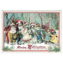 Fancy Cats Christmas Postcard ~ Germany