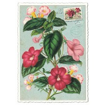 Pink Flowers Glittered Postcard ~ Germany
