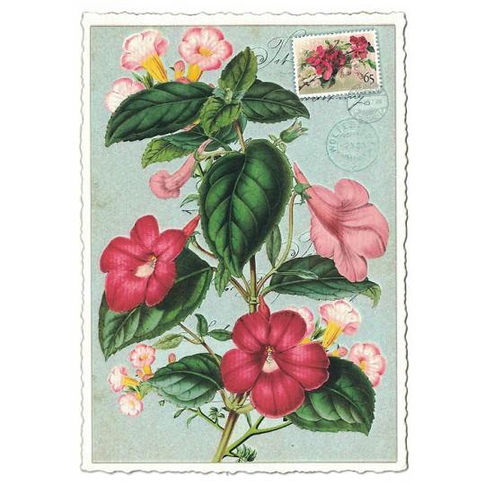 Pink Flowers Glittered Postcard ~ Germany