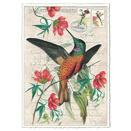 Hummingbird and Flowers Glittered Postcard ~ Germany