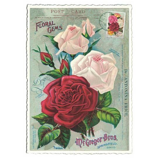 Roses Glittered Postcard ~ Germany