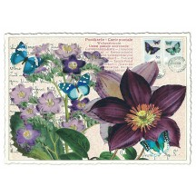 Purple Clematis Glittered Postcard ~ Germany