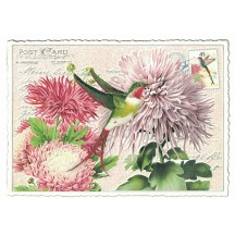 Hummingbird and Chrysanthemums Glittered Postcard ~ Germany