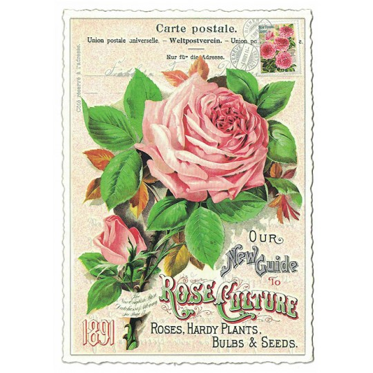 Pink Rose Collage Glittered Postcard ~ Germany