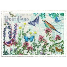 Butterfly and Flower Collage Postcard ~ Germany