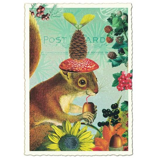 Whimsical Squirrel Glittered Postcard ~ Germany