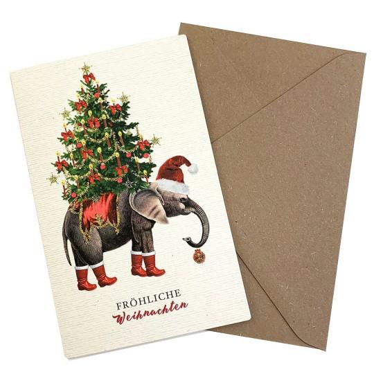 Whimsical Elephant and Christmas Tree Glittered Christmas Card ~ Germany