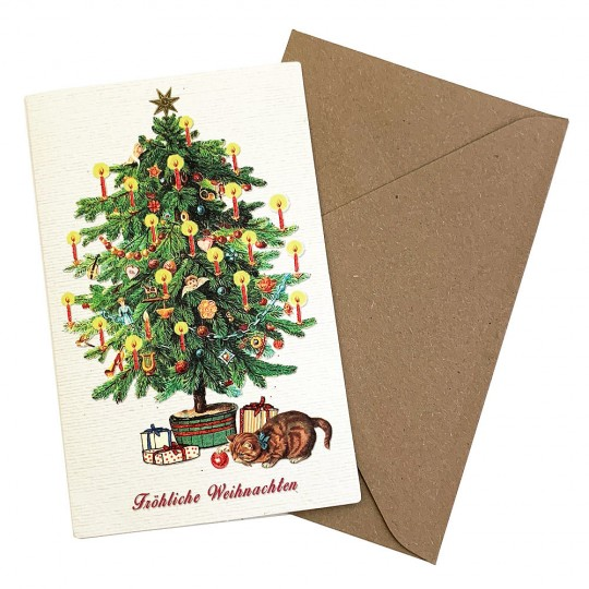 Whimsical Cat and Christmas Tree Glittered Christmas Card ~ Germany