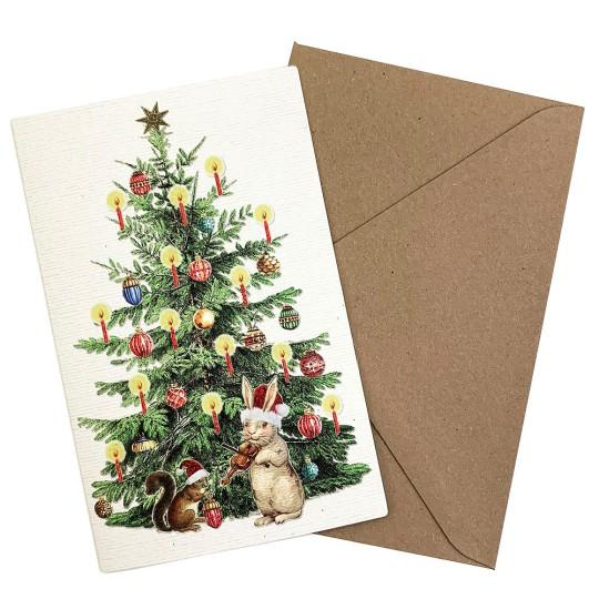 Whimsical Bunny and Christmas Tree Glittered Christmas Card ~ Germany