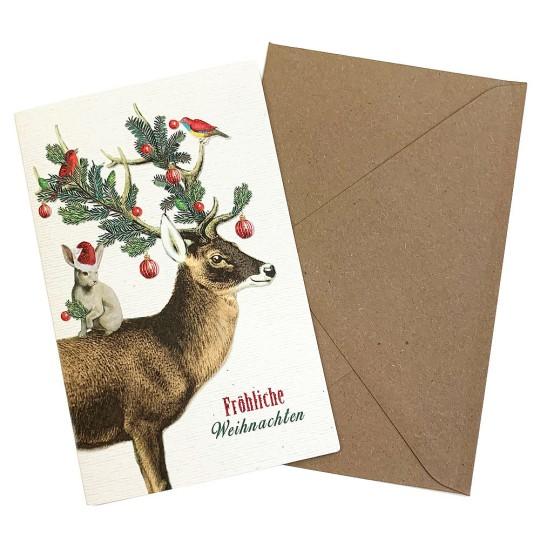 Whimsical Deer and Bunny Glittered Christmas Card ~ Germany