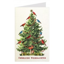 Colorful Birds Christmas Tree Glittered Christmas Card ~ Germany