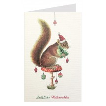 Whimsical Squirrel Glittered Christmas Card ~ Germany
