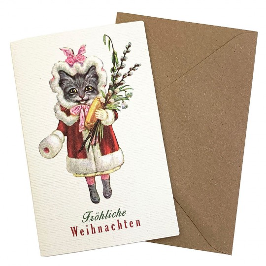 Whimsical Christmas Kitty Cat Glittered Christmas Card ~ Germany
