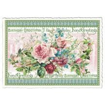 Happy Birthday Roses Glittered Postcard ~ Germany