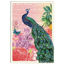 Peacock and Flowers Glittered Postcard ~ Germany