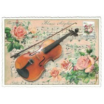 Violin and Roses Glittered Postcard ~ Germany